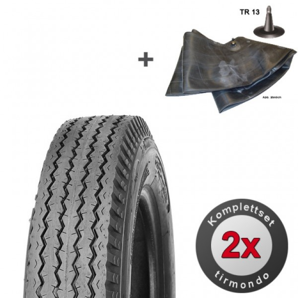 2x 5.00-8 / 5.70-8 Reifen 77M (6PR) und passende Schläuche für Anhänger Trailer